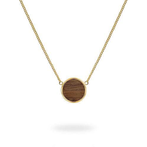 Collar circular / Nogal - Chapa de oro 24k