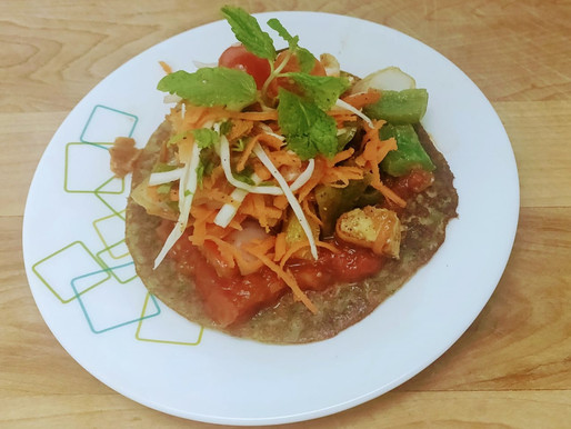 Green moong dal pancake[chila] with stir fry vegetables