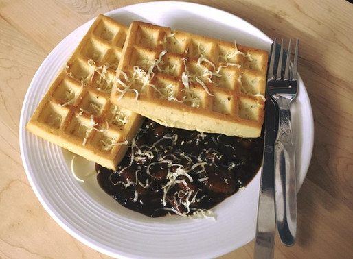 Potato Waffles with Barbecue kidney Beans