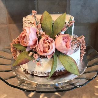 2 Tier Naked Cake with Roses