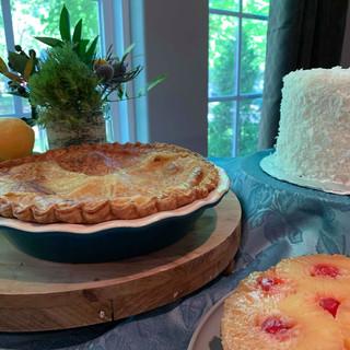Peach Pie, Coconut Cake, Pineapple Upside Cake