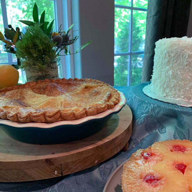 Peach Pie, Coconut Cake, Pineapple Upside Cake