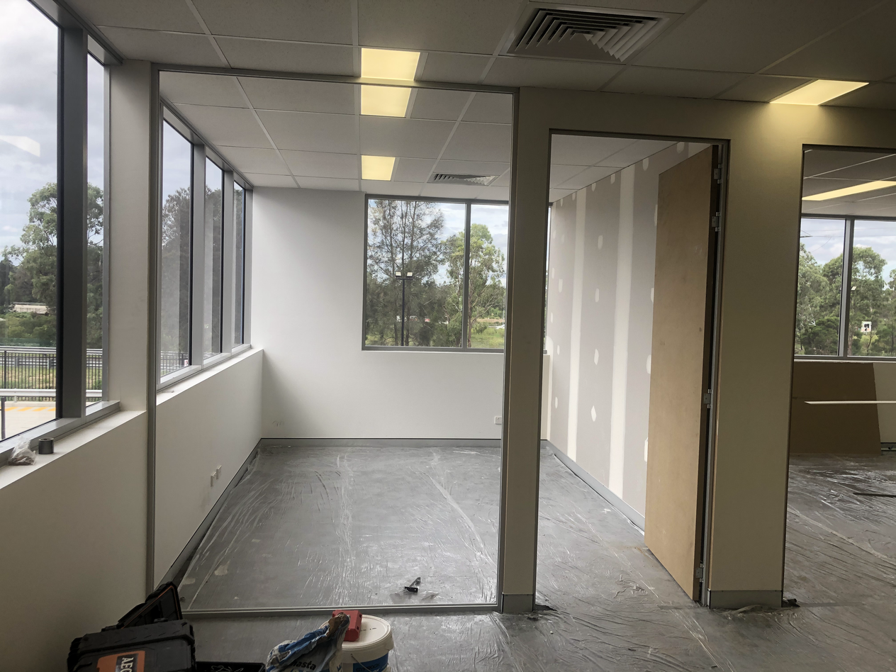 Office partition Plastering Completed