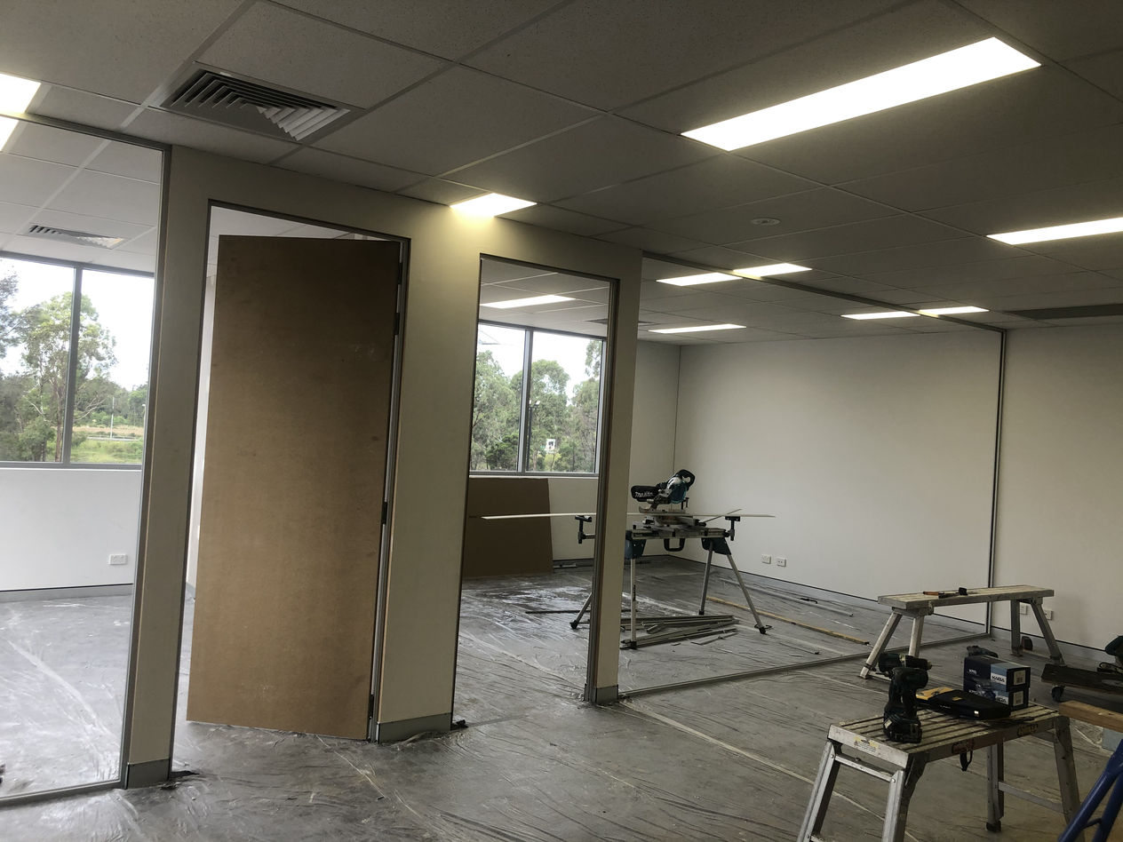 Office Partitions Ready for Paint