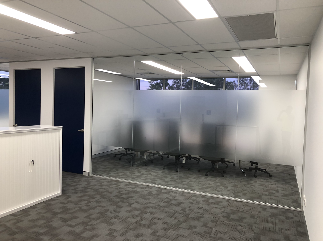 Office Entry with Privacy Film to boardroom glass partition