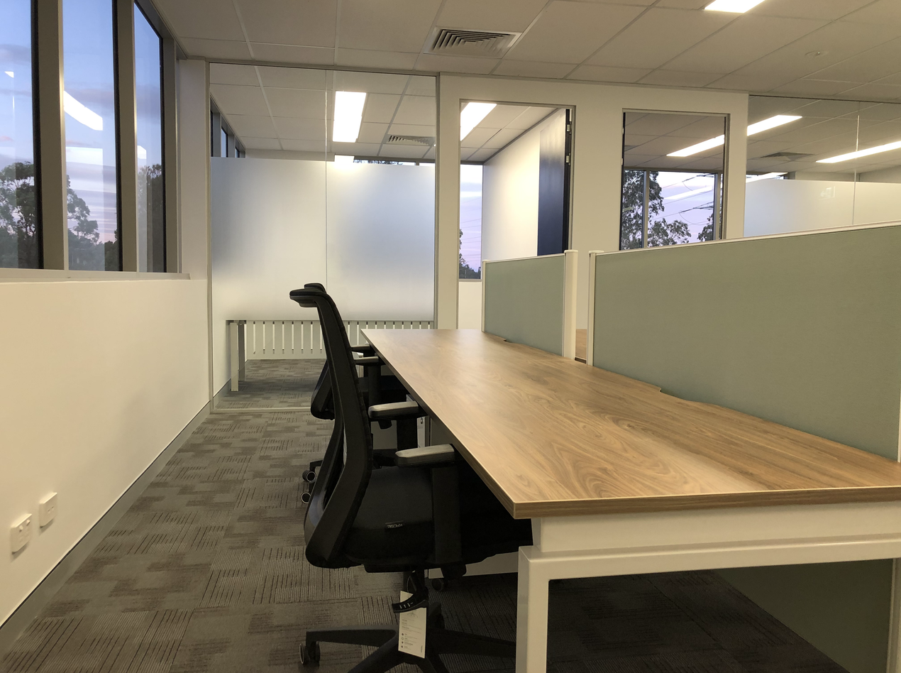 4 Way Office Workstation in Sydney with softwiring