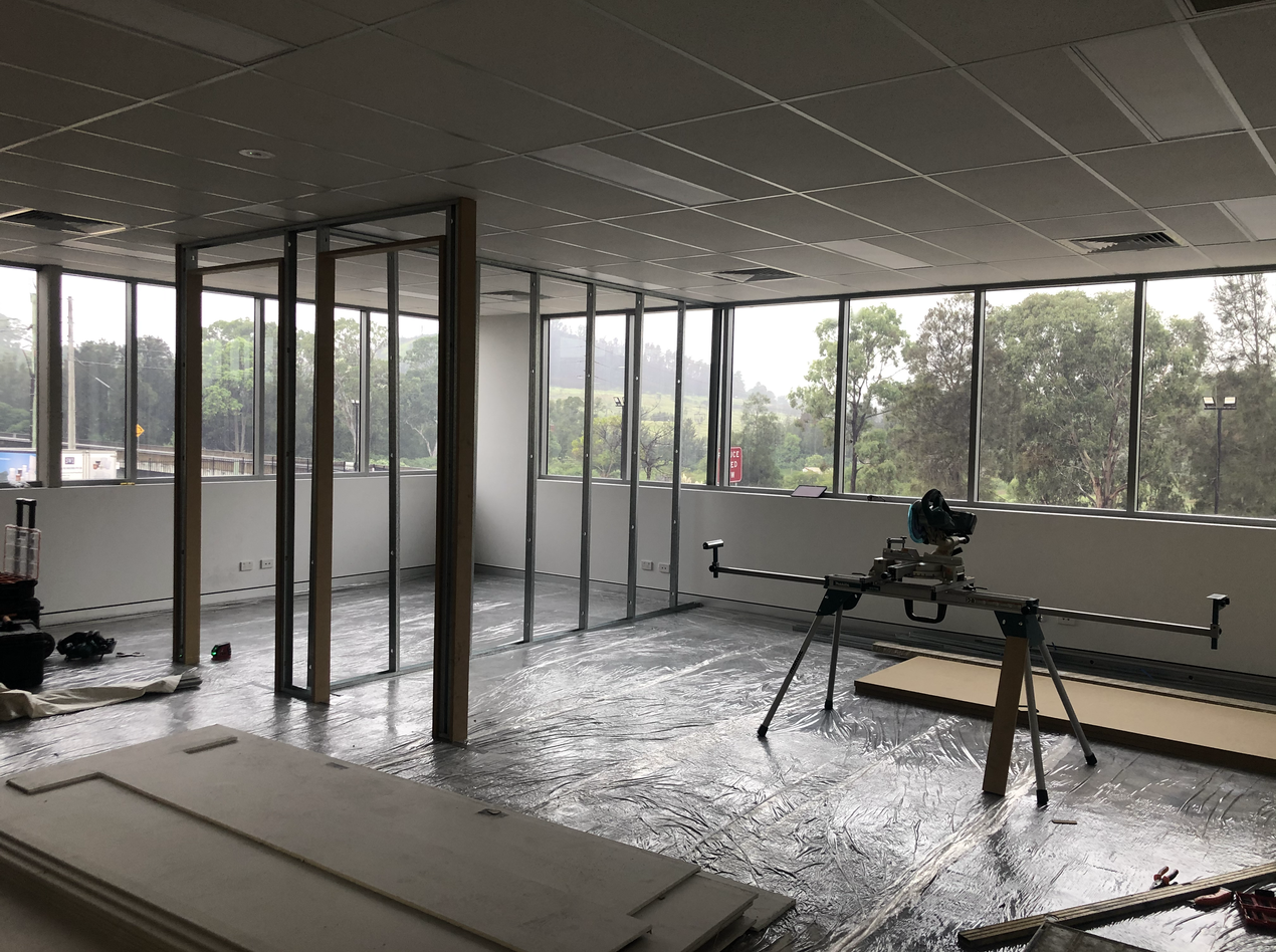 Office Partitions Installed with door ways ready for electrical services to be installed