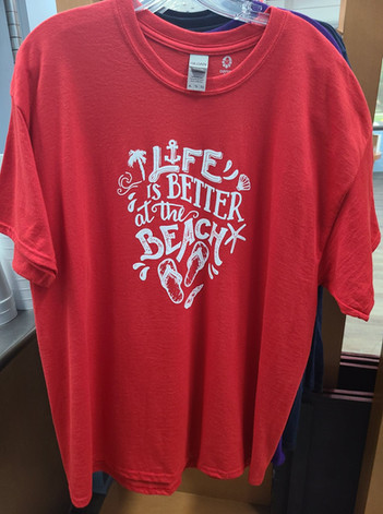 T-Shirt (Life's Better at the Beach/Red - Front)