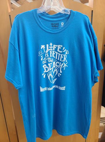 T-Shirt (Life's Better at the Beach-Merritt Island Pancake House/Light Blue - Front)