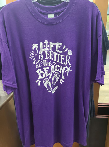 T-Shirt (Life's Better at the Beach/Purple - Front)
