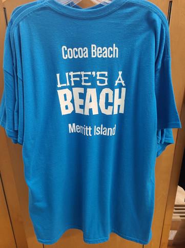 T-Shirt (Life's a Beach-Cocoa Beach,Merritt Island/Blue - Back)