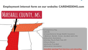 10K Recruitment Bonus. - Marshall County, MS.- Paramedic (Full Time)