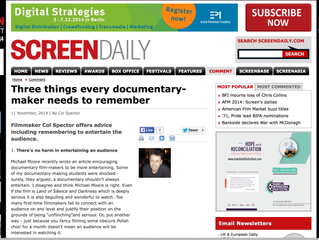 Screen International have just posted my 3 Things Every Documentary-Maker Needs To Know