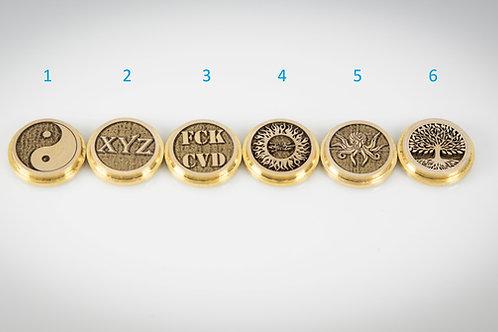 Billet Box Brass 3D Button