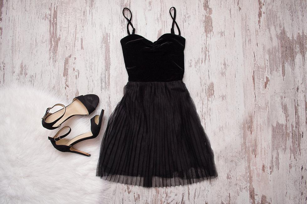 Little Black Dress And Black Shoes. Wood