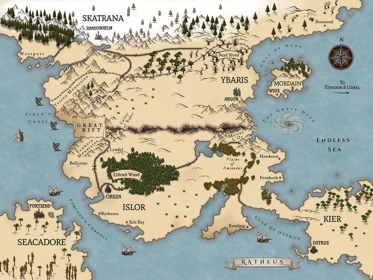 Fate & Flame series Map - for 6x9 hardco
