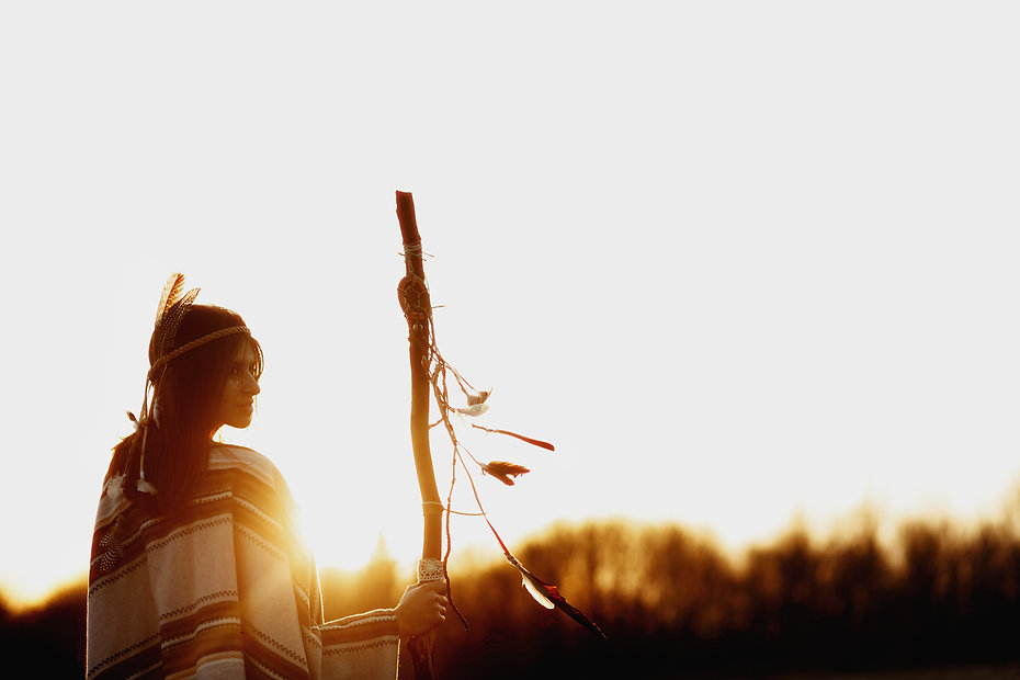 native american woman  shaman with pikes