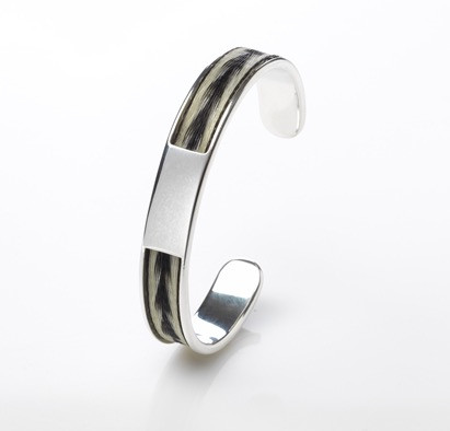 The Burnished Horse Inlaid woven horse hair torque bangle