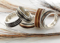 The Burnished Horse inlaid woven horse hair rings