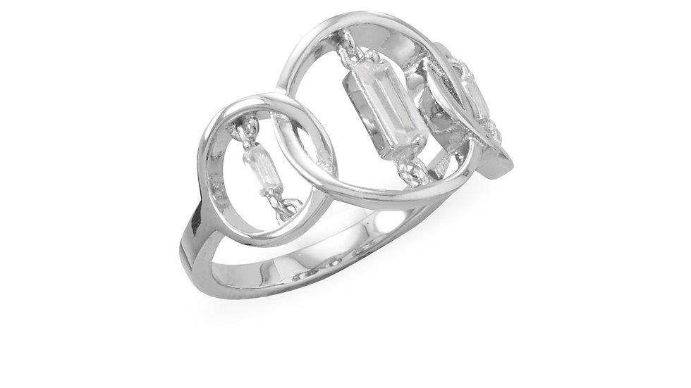 Rhodium Plated Triple Circle Suspension CZ Ring