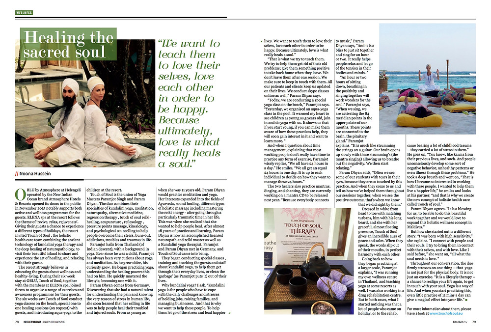 Article about Touch of soul in Maldivian Magazine