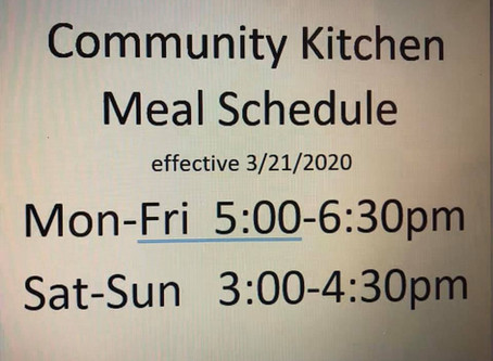 COVID-19 Updated Meal Schedule