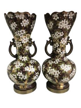 Antique Floral Lamps - A Pair