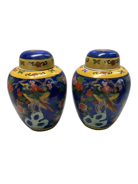 Hand Painted Ginger Jars - A Pair