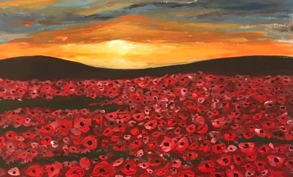 Sunset over a field of poppies (large)