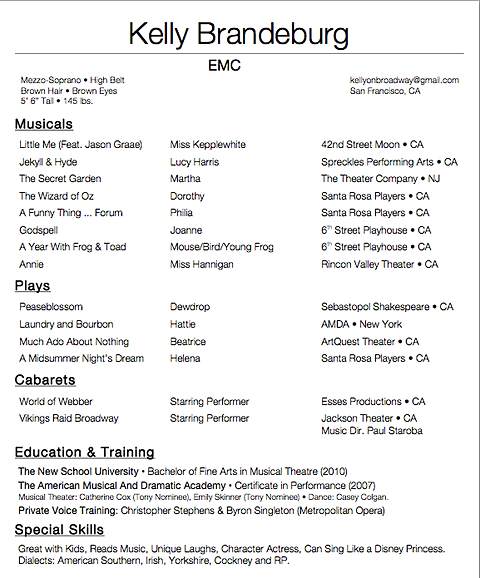 Nice Musical Theatre Resume Playbestonlinegames .  Musical Theatre Resume