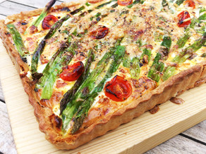 Asparagus and cherry tomato tart