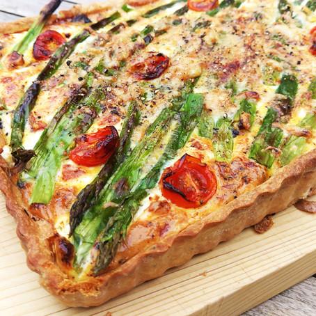 Asparagus and cherry tomato tart