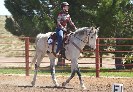 Cowboy Dressage rider competes with her grey horse