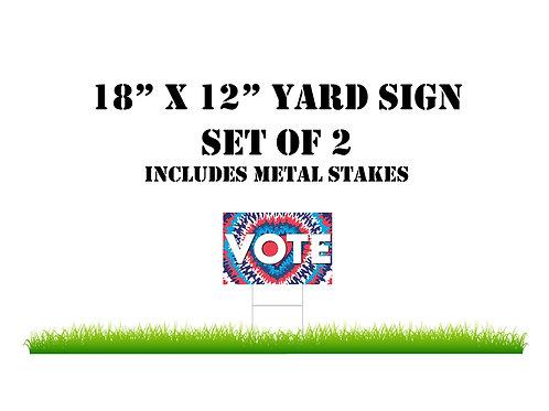 Tye-Dye Yard Sign- VOTE- Red/White/Blue