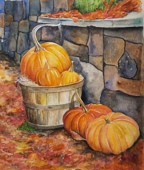 Pumpkin and wall
