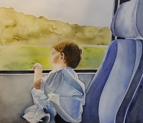 Adam on train