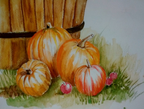 Pumpkins and apples
