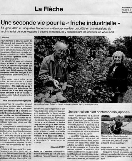 フランス新聞掲載- 「Jardin de l'Oraisière : une expo d'art contemporain japonais à Ligron」(6/4-6/5)