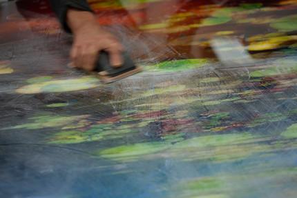 sanding between resin pours