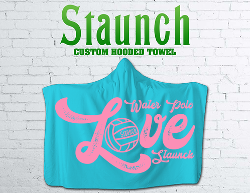 Water Polo Love Printed Hooded Beach Towel For Toddler