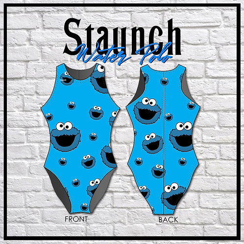 Aqua Blue Color And Grouch Printed Water Polo Swimsuits | 2021
