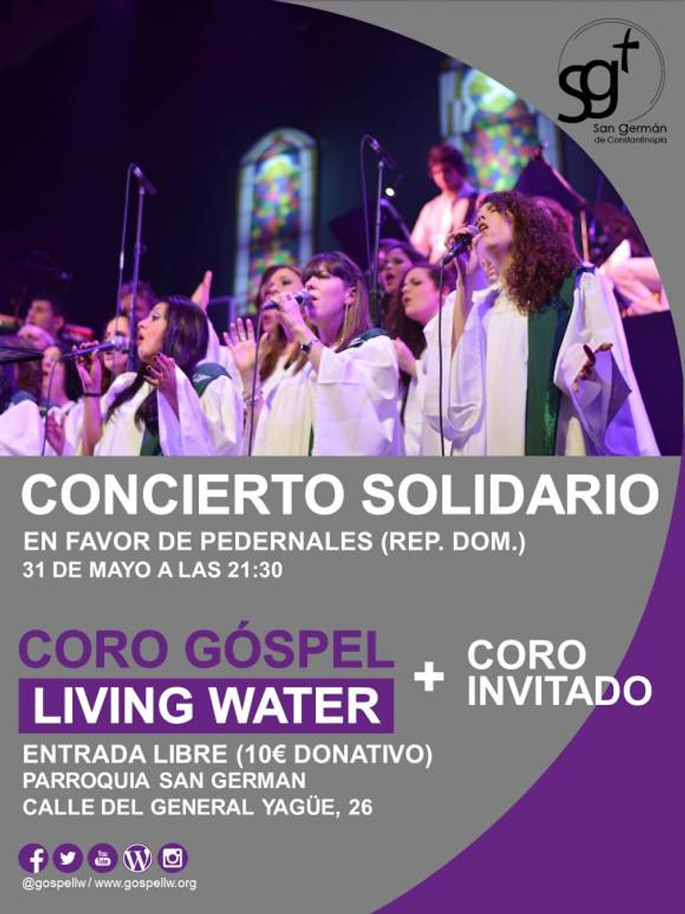 CARTEL CORPORATIVO PARA SOLIDARIOS COLO GOSPEL LIVING WATER