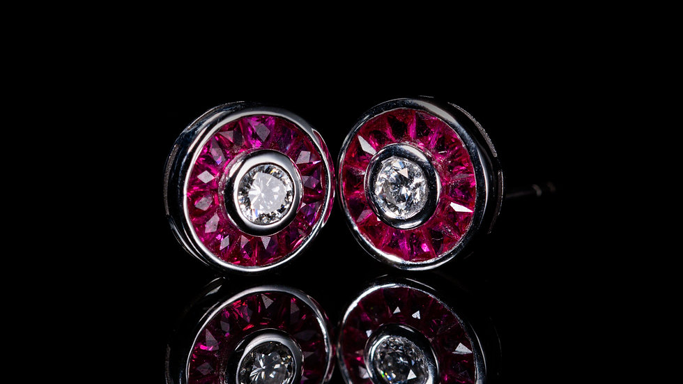 2ct Ruby and 0.4ct Diamond Earrings in 18ct White Gold