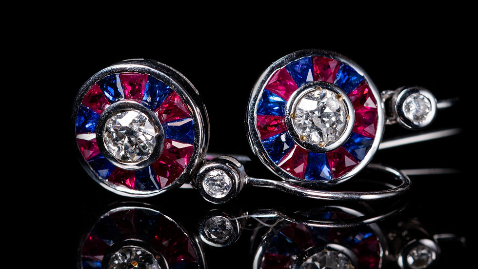 1ct Sapphire, 1ct Ruby and 0.6ct Diamond Earrings 18ct White Gold
