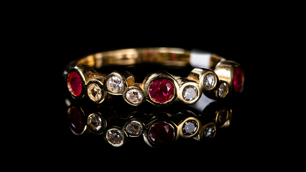 Half Eternity Bubble band Dainty Diamond and Ruby Ring
