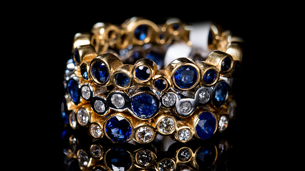 Stackable Diamond And Blue Sapphire Eternity Band Set