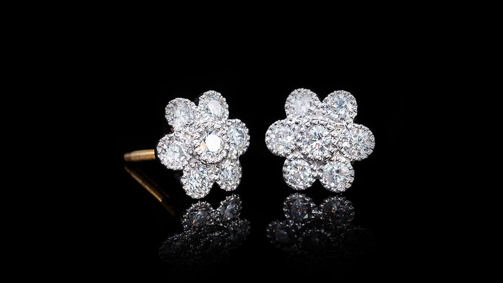 Contemporary Daisy Cluster 1.01ct Diamond Earrings in 18ct White and Yellow Gold