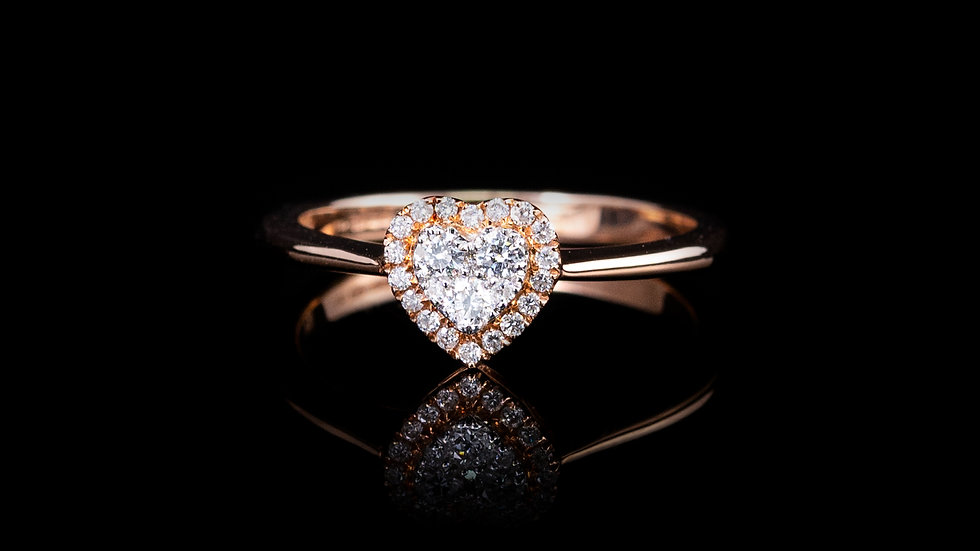 18ct Rose Gold DIAMOND HEART CLUSTER RING 0.23CT
