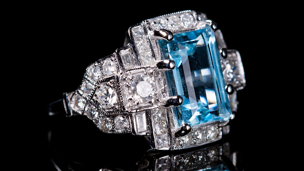 3ct Aquamarine and 1.75ct Diamond Ring 18ct White Gold