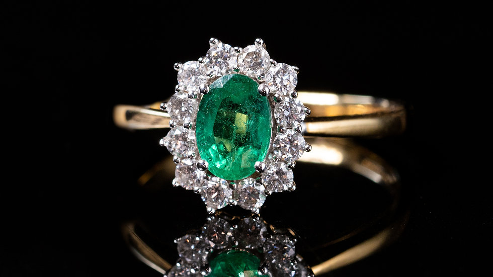 18ct Gold Classic emerald cluster ring